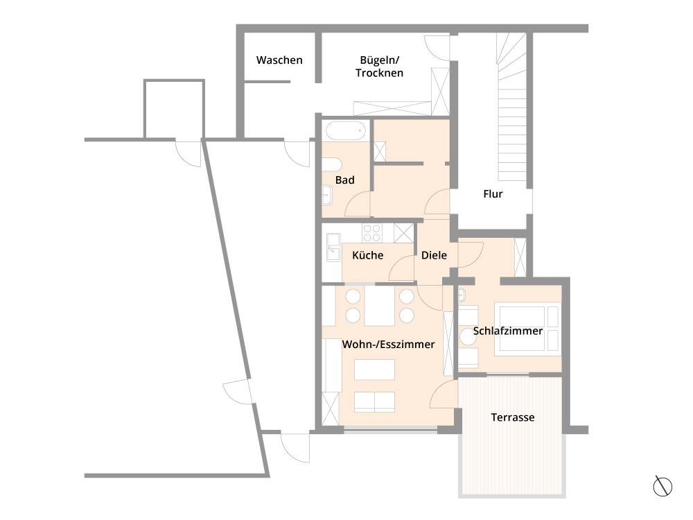 Grundrissschema Ferienwohnung Haus Talmatten